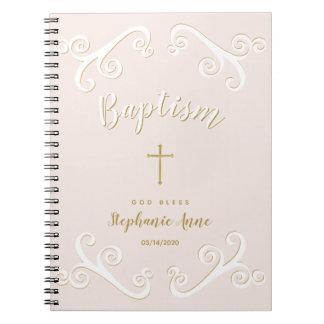Caderno Espiral Rolos do baptismo no rosa e no ouro