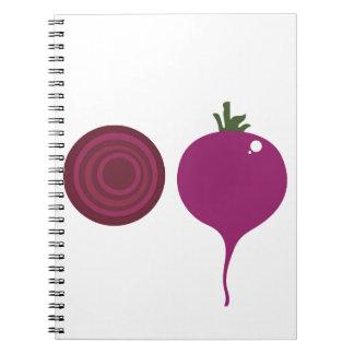 Caderno Espiral Rosa dos vegies do design no branco