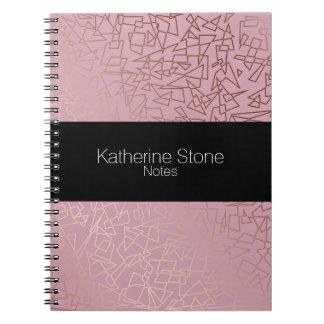 Caderno Espiral Rosa geométrico do teste padrão do ouro