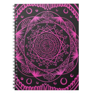 Caderno Espiral Rosa quente, despertando o teste padrão do zen,