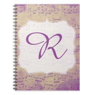 Caderno Espiral Roxo inicial feito sob encomenda Grungle do