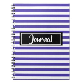 Caderno Espiral Roxo simples e o branco listram jornal listrado