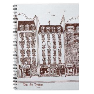 Caderno Espiral Rua du Dragão, Santo-Germano-DES-Pres, Paris