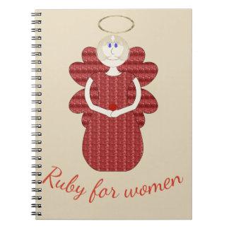 Caderno Espiral Rubi para o anjo do vermelho das mulheres