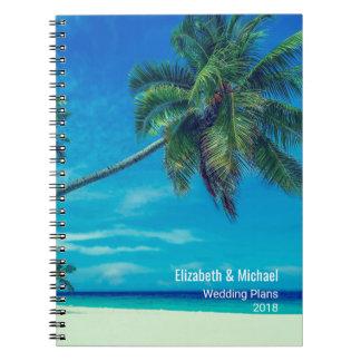 Caderno Espiral Sandy Beach branco com as palmeiras que Wedding