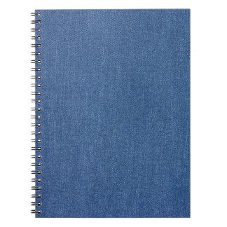 Caderno Espiral Sarja de Nimes azul original de brim da forma do