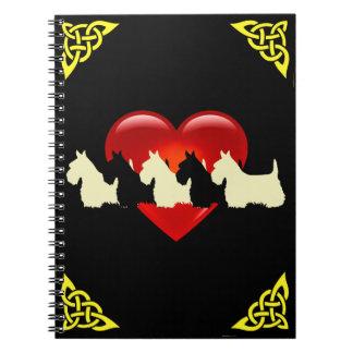 Caderno Espiral Scottish coração preto/branco de Terrier da