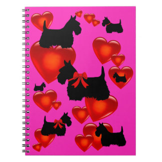 Caderno Espiral Scottish coração preto/wheaten de Terrier da