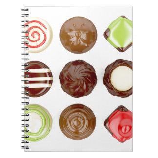 Caderno Espiral Seleção de doces de chocolate