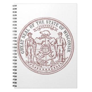 Caderno Espiral Selo desvanecido de Wisconsin