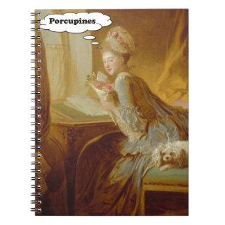 Caderno Espiral Senhora elegante Pensamento Sobre Porco-