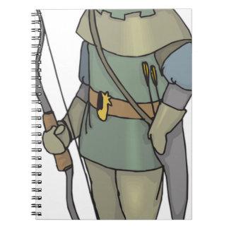 Caderno Espiral Seta do arco do homem do arqueiro da fantasia