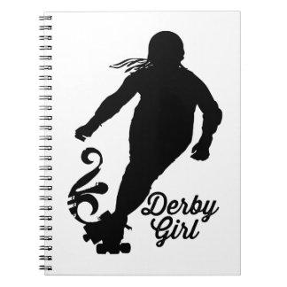 Caderno Espiral Silhueta da menina de Derby, patinagem de Derby do