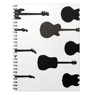 Caderno Espiral Silhuetas da guitarra da rocha