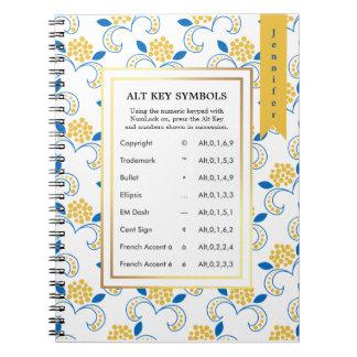 Caderno Espiral Símbolos da chave de Alt para escritores