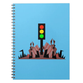 Caderno Espiral Sinal de trânsito com coelhos