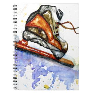 Caderno Espiral Skate de gelo da aguarela