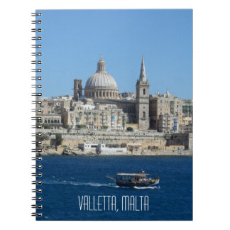 Caderno Espiral Skyline de Malta do porto de Valletta do barco de