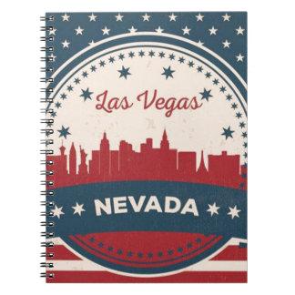 Caderno Espiral Skyline retro de Las Vegas