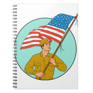 Caderno Espiral Soldado americano que acena o desenho do círculo