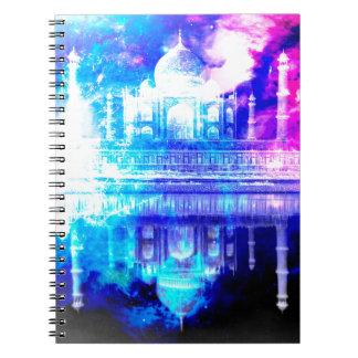 Caderno Espiral Sonhos de Taj Mahal do céu da criação