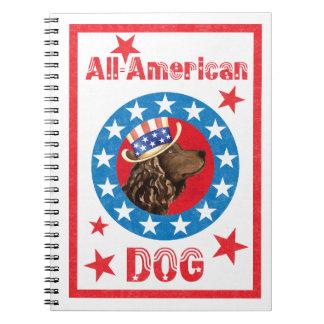 Caderno Espiral Spaniel de água americana patriótico