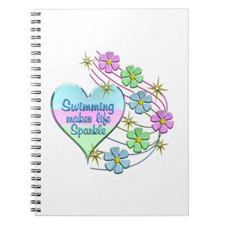 Caderno Espiral Sparkles nadadores
