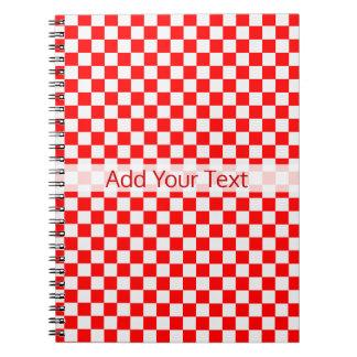 Caderno Espiral Tabuleiro de damas clássico vermelho e branco por