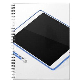 Caderno Espiral Tabuleta no suporte e na caneta digital