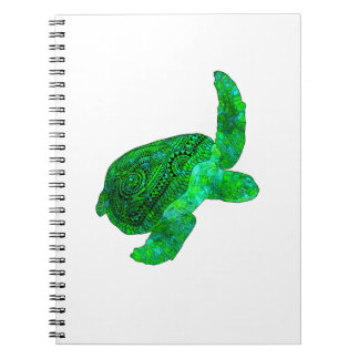 Caderno Espiral Tartaruga de mar verde tribal
