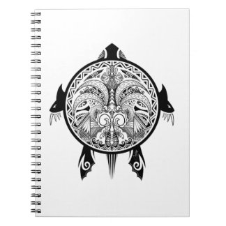 Caderno Espiral Tatuagem tribal do protetor da tartaruga