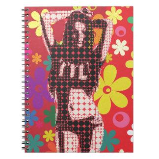 Caderno Espiral Tema da criança de flor 60s do hippy