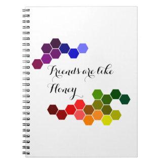 Caderno Espiral Tema do mel com palavras positivas