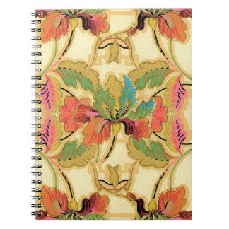 Caderno Espiral Teste padrão alaranjado do papel de parede floral