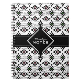 Caderno Espiral Teste padrão asteca tribal do diamante do rosa do