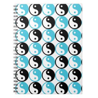 Caderno Espiral Teste padrão azul e preto de yang do yin
