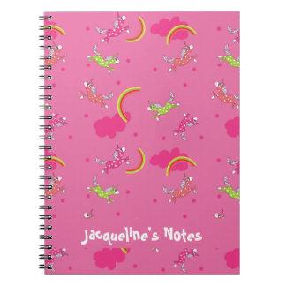Caderno Espiral Teste padrão bonito dos desenhos animados do rosa