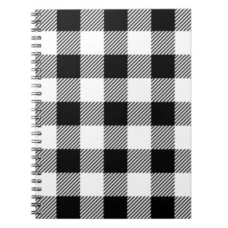 Caderno Espiral Teste padrão clássico B&W da xadrez da verificação
