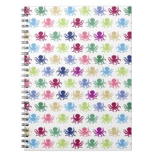 Caderno Espiral Teste padrão colorido do polvo