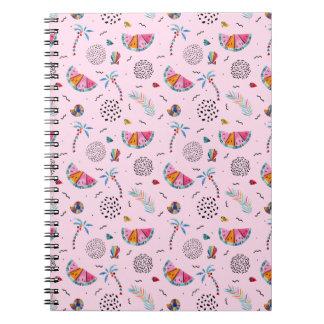 Caderno Espiral Teste padrão cor-de-rosa tropical do estilo de