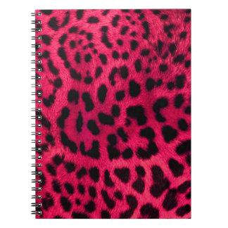 Caderno Espiral Teste padrão da chita do rosa quente