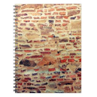 Caderno Espiral Teste padrão da parede de tijolo