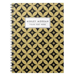 Caderno Espiral Teste padrão de bolinhas elegante do círculo do