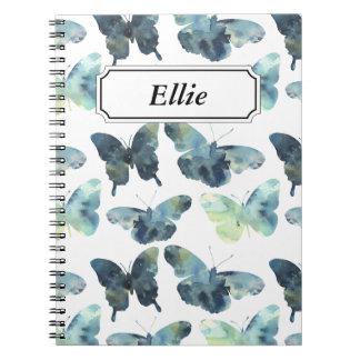 Caderno Espiral Teste padrão de borboletas azul verde artístico da