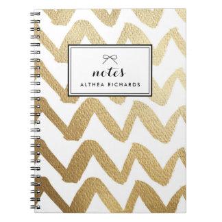 Caderno Espiral Teste padrão de Chevron da escova da folha de ouro
