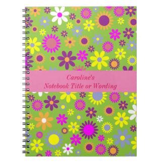 Caderno Espiral Teste padrão de flor personalizado feminino bonito