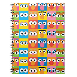 Caderno Espiral Teste padrão de olhos do caráter do Sesame Street