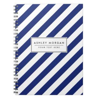 Caderno Espiral Teste padrão diagonal do azul marinho e o branco