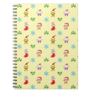 Caderno Espiral Teste padrão do Natal do rato, do boneco de neve,