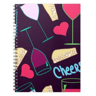 Caderno Espiral Teste padrão do partido do vinho dos elogios